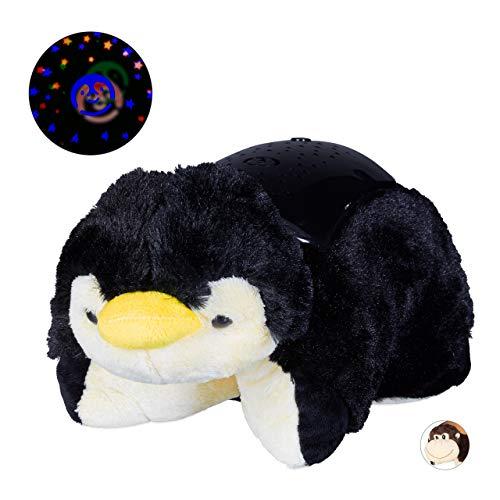 Relaxdays nachtlampje sterrenhemel, knuffeldier pinguïn, inslaaphulp, baby & kind, kleurverandering, sterrenlicht, zwart