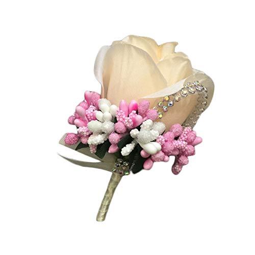 TREESTAR Broche de Mariage pour Les Hommes Pince à BoutonnièRe en Cristal Corsage Rose Fleur de Soie