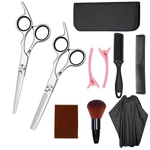 10 Pcs Kit Tijeras Peluqueria Profesional, Hairdressing Scissors Set Tijeras Peluqueria de Acero Inoxidable, Juego de Tijera Peluqueria con Estuche de Cuero para Hombres, Mujeres y Niños