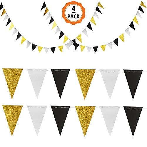 4pcs 3 Metros Pancartas para fiestas Banderas de Triángulo con Brillo de Doble Cara Decoraciones de Bandera Triangular con Purpurina para Fiestas Cumpleaños Bodas(Dorado,Plata,Negro)