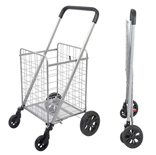 Grocery Shopping Cart with Heavy Duty Swivel Wheels, Folds Flat with Wide Cushion Handle Bar, Mesh Bottom and Brake System