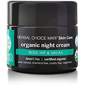 Organic Night Cream by Herbal Choice Mari (1.7 Fl Oz Glass Jar) - No Toxic Chemicals - TSA-Approved Travel Size