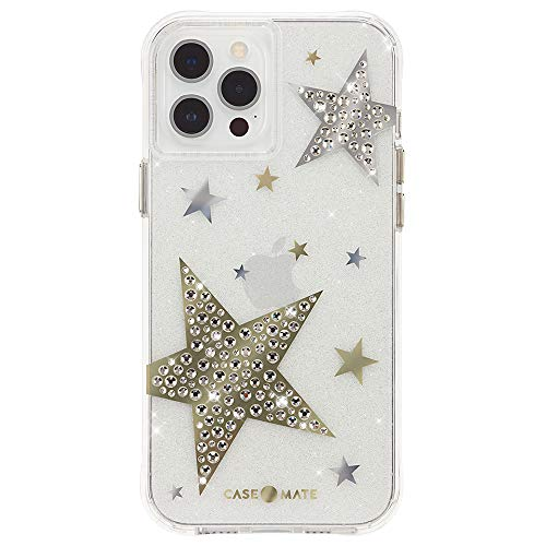 Case-Mate - Sheer Superstar - Case for iPhone 12 Pro Max (5G) - Raised Rhinestone Stars - 10 ft Drop Protection - Antimicrobial - 6.7 Inch - Sheer Superstar