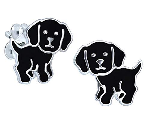 Katy Craig - Orecchini a forma di cane Labrador nero, in argento Sterling, idea regalo per gli amanti dei cani