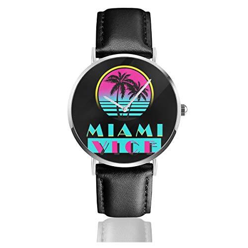 Unisex Business Casual Miami Vice Logo Uhren Quarzuhr Lederarmband schwarz für Männer Frauen Young Collection Geschenk