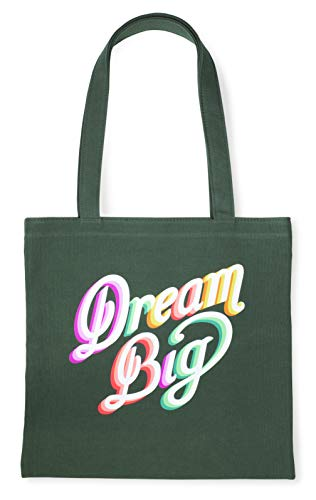 Kate Spade New York Green Canvas Tote Bag with Interior Pocket, Dream Big (rainbow)
