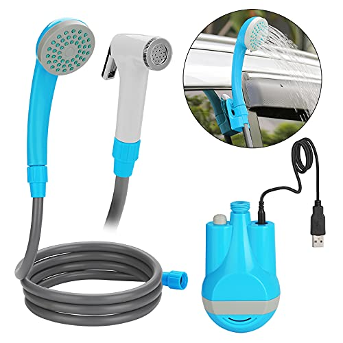 WADEO Camping Shower, Portable Handhold Outdoor Shower USB Rechargeable Batteries Outdoor Shower