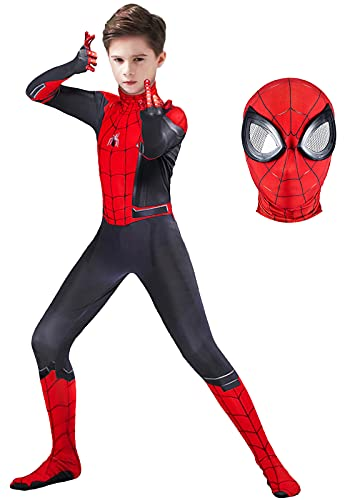 Kids Superhero Costume 3D Style Spandex Bodysuit Cool Halloween Cosplay Jumpsuit for Boys Girls (Red, Kids-XS (Height: 36-39Inch))
