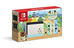 MSRP $299.99 The console is also decorated with images of recognizable characters: Tom Nook and Nooklings Timmy and Tommy Includes a Switch console, Switch dock, Joy-Con (L) and Joy-Con (R), and two Joy-Con strap accessories Game not included