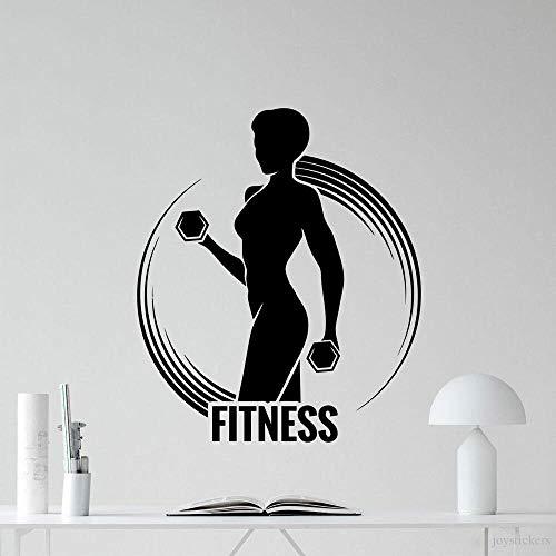 GYM Fitness Sports Logo Sign Mancuernas Ejercicio Msculo Mujer Chica Etiqueta de la pared Vinilo Arte Calcomana Dormitorio Sala de estar Sala de entrenamiento Club de culturismo Decoracin del