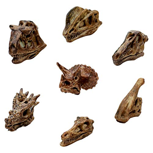 Dinosaur Skulls Pencil Toppers Pack 48 Count - Little Dino Model Skeleton Toys for Kids Big Top Supply of Dinosaur Replica for Party Favors School Classroom - 2' Capsules and Vending Machine