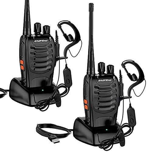 StillCool Walkie Talkie Profesionales Recargable Dispositivo de Radio BF-888S 1500 mAh 16 Canales con Recepción de Radio de 3-5 km De Alcance,Linterna Recargable y Auriculares Duales Portátiles(2 PCS)