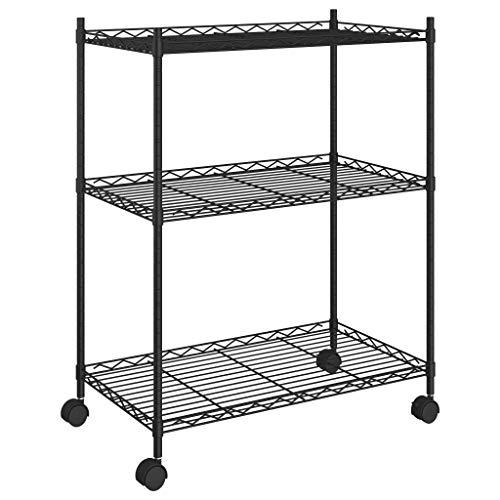 vidaXL Estantería de almacenamiento con 3 baldas, estantería de cocina, estantería de pie, estantería para el hogar, de metal, para cocina, oficina, garaje, 60 x 35 x 81 cm, negro, 150 kg