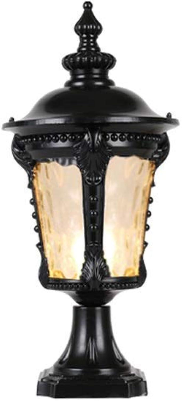 ATR Europische Retro Outdoor Glassule Lampe Wasserdichte Hof Gartenpfosten Laterne Lampe für Lager Zaun Column Head Wandleuchte E27 (Farbe  Schwarz-H-38cm)