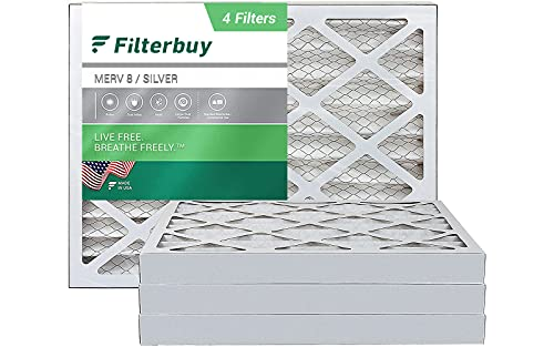 FilterBuy 16x20x2 Air Filter MERV 8, Pleated HVAC AC Furnace Filters (4-Pack, Silver)