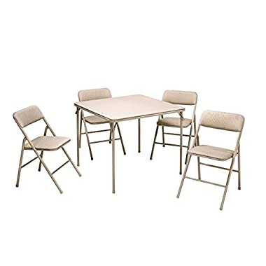 Cosco 14551WHD Outdoor Living 5-Piece Folding Table and Chair Set, Tan