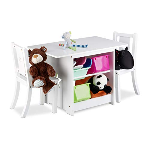 Relaxdays Mobiliario Infantil Albus con Espacio de almacenaje, Una Mesa & Dos sillas, Diseño Unisex, Blanco, Madera, plástico, Bianco, 56 x 75 x 46 cm