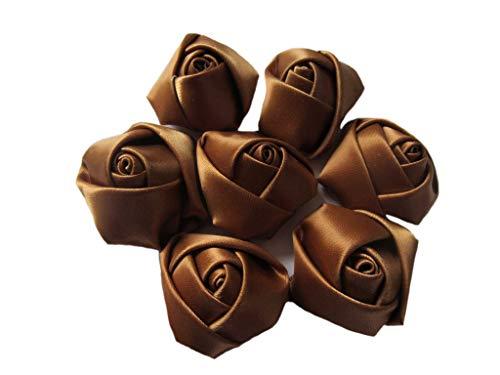 YYCRAFT 30pcs Satin Rose, 1.5″ Rose Flower for Craft Wedding Bride Bouquet(Chocolate) Silk Flower Arrangements