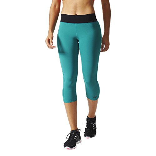adidas Damen Leggings WO 3/4 Tights, Grün/Schwarz, XS