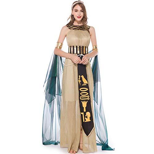Story of life Costume da Halloween per Adulti Costume da Donna Cosplay Cleopatra Ballerino Queen Masquerade Nightclub Stage Costume,Gold,L