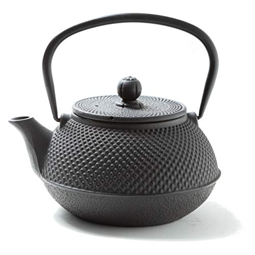 Tealøv TEEKANNE GUSSEISEN 800 ML   Gusseiserne Teekanne Im Japanischen Stil   Teekanne Guss mit Sieb aus Edelstahl   Hervorragende Wärmespeicherfähigkeit   Robust   Langlebig   Arare   Schwarz