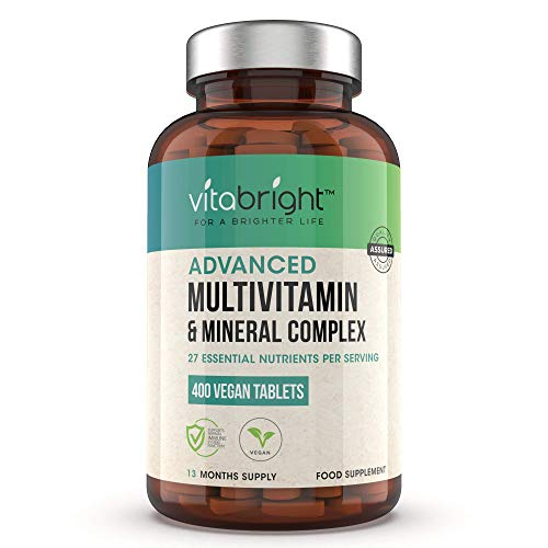 Multivitamins & Minerals - 400 Vegan Multivitamin Tablets - 1+ Year Supply - 27 Essential Active Vitamins & Minerals per Multivitamin Tablets for Men and Women - Made in The UK by VitaBright