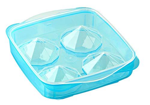 Fackelmann Eiswürfelformer Diamant, XXL-Eiswürfelbox aus Kunststoff, robuster Eiswürfelbehälter (Farbe: Blau), Menge: 1 Stück