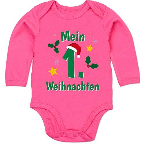 Shirtracer Weihnachten Baby - Mein 1. Weihnachten grün - 6/12 Monate - Fuchsia - My First Christmas - BZ30 - Baby Body Langarm