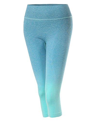 Made by Emma Sports Yoga Fitness Workout Training Stretch Capri Leggings Mint LXL Size