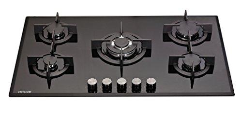 Millar GH9051PB Plaque de cuisson en Verre trempé avec 5 brûleurs à gaz Noir 90 cm   Table de Cuisson…