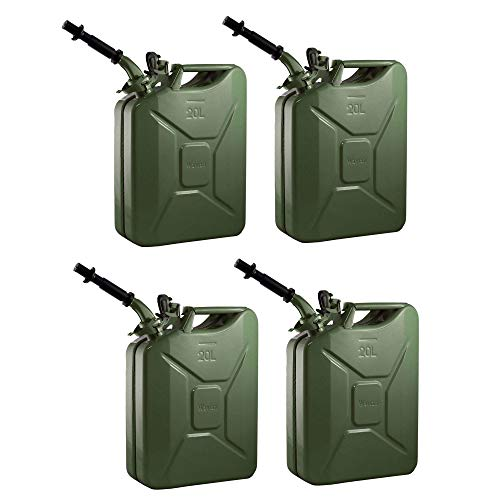 4 Wavian 3008 5.3 Gallon 20 Liter Authentic CARB Fuel Jerry Can w/Spout, Green