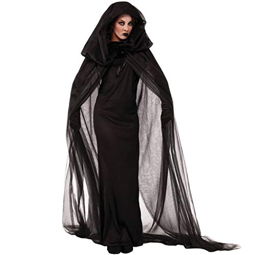 karrychen Halloween Cosplay Witch Vampire Uniform Black Long Dress Hooded Cape with Gloves- L#