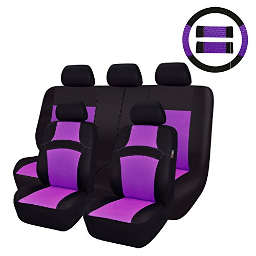CAR PASS Rainbow Universal Fit Car Seat Cover -100% Breathable with 5mm Composite Sponge Inside,Airbag Compatible (14PCS, Purple)
