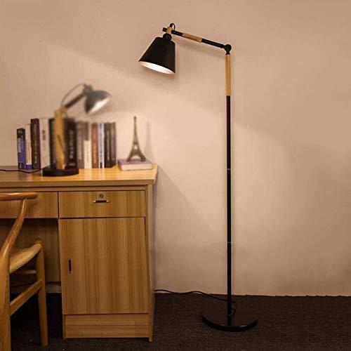 LIANGANAN Se Enciende Piso de Madera Creativa Simple Moda nórdica de Control Remoto de pie luminarias for la Sala de Estudio de Bulbo Dormitorio Incluido, Negro (Color : Black)