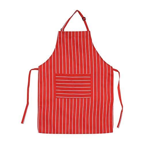 Germerse Delantales de Cocina, Delantal de Chef Delantales para Mujer duraderos Diseño(Red and White Stripes)