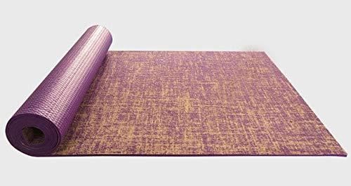 N / A Lino Cómodo Doble Lado Antideslizante Perder Peso Estera de Ejercicio Fitness Principiantes Estera de Yoga Tapete Estera de Pilates de Yoga 183x61x0.5CM