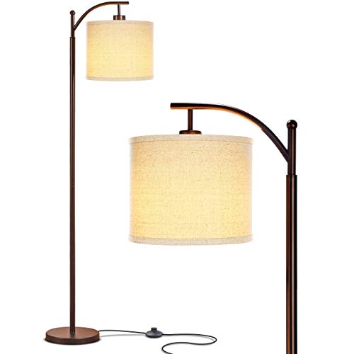 Brightech Montage LED Floor Lamp- Classic Arc Floor Lamp with Hanging Lamp Shade - Tall Industrial Uplight Lamp for Living Room, Family Room, Office or Bedroom, Energy Saving and Long Lasting- Bronze