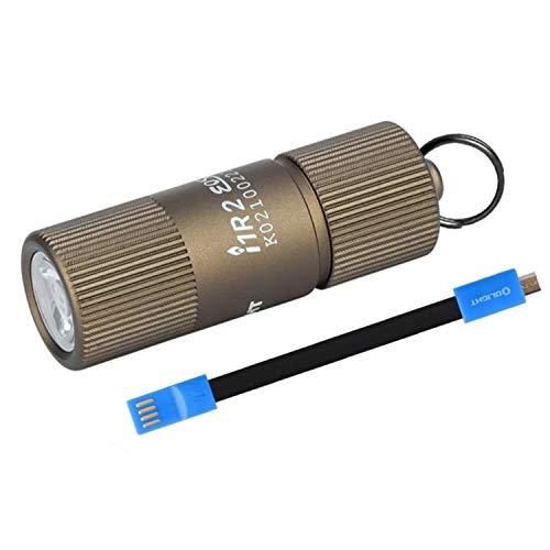 OLIGHT I1R 2 EOS LED Mini Linterna con Llavero,Lámpara Pequeña Solo 13g,Linterna de Mano da 150 Lúmenes y 40 Metros Linterna Recargable por Micro USB(I1R 2 + Cable),Impermeable,Desierto