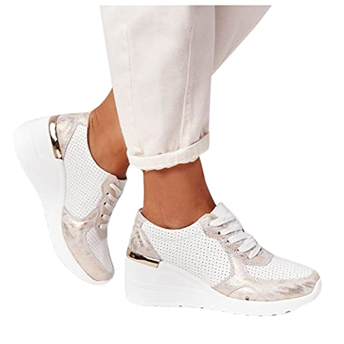 koperras Laufschuhe Damen Plattform Freizeitschuhe Sportschuhe Dämpfung Sneaker Leichte Turnschuhe für Gym Indoor Outdoor Trekkingschuh Fitnessschuhe Elastische Gold Grau Sneakers