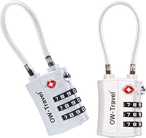 OW-Travel Candado Combinacion Cable Acero Flexible Anti robo. Candado maleta TSA numerico 3 Digitos. Candados mochila y maletas. Candado Taquilla Gimnasio. TSA candado seguridad equipaje Plata 2