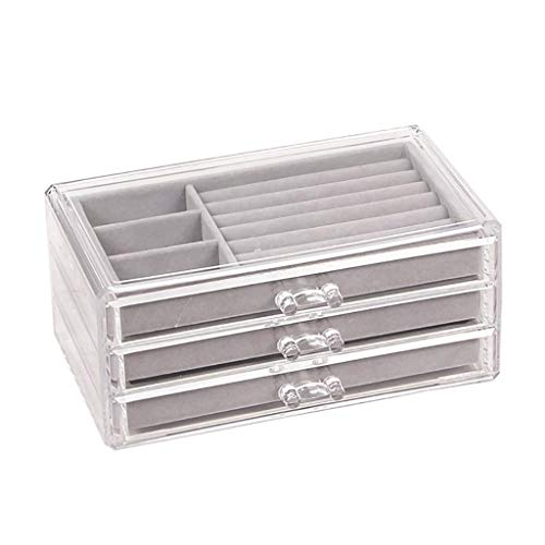SCDZS Jewelry Box for Women with 3 Drawers, Velvet Jewellery Organizer for Earring Bangle Bracelet Necklace and Rings Storage