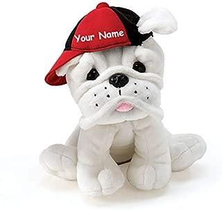 Personalized Eugene White Bulldog in Baseball Cap Plush Stuffed Animal Toy - 7.5 Inches