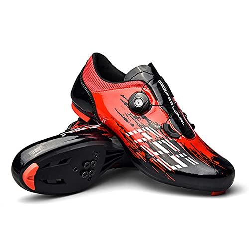 Zapatillas Ciclismo Moda, Zapatillas Bicicleta Todoterreno Cuatro Estaciones Unisex para Bicicleta De Carretera MTB Spin, Compatible con SPD Look Delta Cycle Riding Cleat (Red,36(EU 37 2/3))