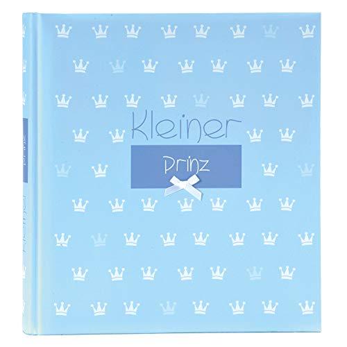 goldbuch 15088 Babyalbum Kleiner Prinz, 30 x 31 cm, Baby Fotoalbum mit 60 weiße Blankoseiten & 4 illustrierten Seiten und Pergamin-Trennblättern, Kunstdruck mit Relieflack, Mit Accessoires, Blau