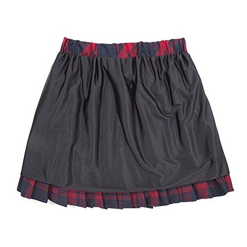 urban GoCo Mujeres Falda Escocesa Plisada con Cintura Elástica Escuela Uniforme Falda Cuadros (M, 1 Rojo)