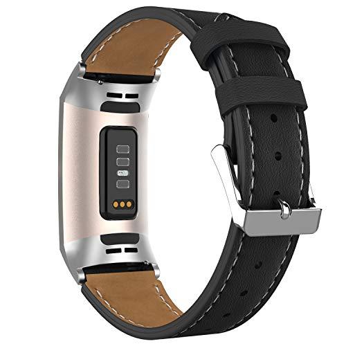 Adepoy für Fitbit Charge 3 Armband Leder, Echtes Klassisches Einstellbares Lederarmband Kompatibel mit Fitbit Charge 3 und Charge 3 Sonderedition (Schwarz)