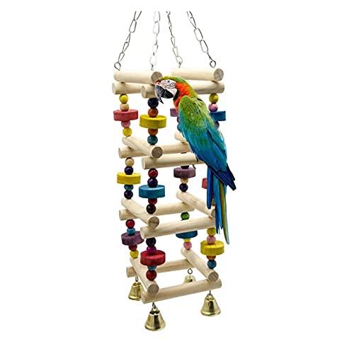 ZHANGJINYISHOP2016 Pájaro de Madera Parrot Swing Ladder Juguetes Colgando Pájaro Masticando Soporte Soporte Perca con campanario Patio Patio Colorido Bloques de Mordida Juguete