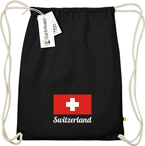 Shirtinstyle Organic Gymsac, Land, Länder, Switzerland, Schweiz, schwarz