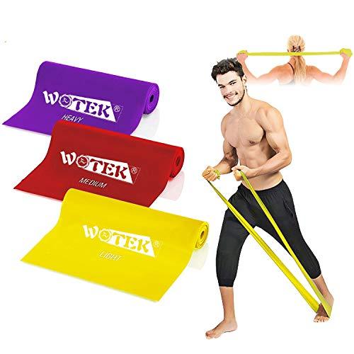 WOTEK Elastic Fitness Bands Elastic Fitness Rubber, 3 Elastic Rubber Bands Weight: 1.5m / 1.8m / 2m Elastic Rubber for Women and Men, Pilates, Yoga, Rehabilitation, Stretching, Training