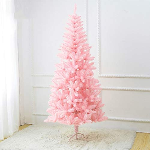 GJXJY Pink Artificial Christmas Tree Ornaments, Indoor and Outdoor Holiday Decoration Easy Assembly, Foldable Metal Stand150cm/5ft